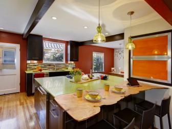 Vibrant Eclectic Kitchen With Island Seating