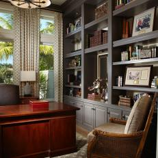 Sophisticated Home Office With Gray Built Ins