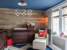 Nautical Nursery With Blue Ceiling and Whale Mobile