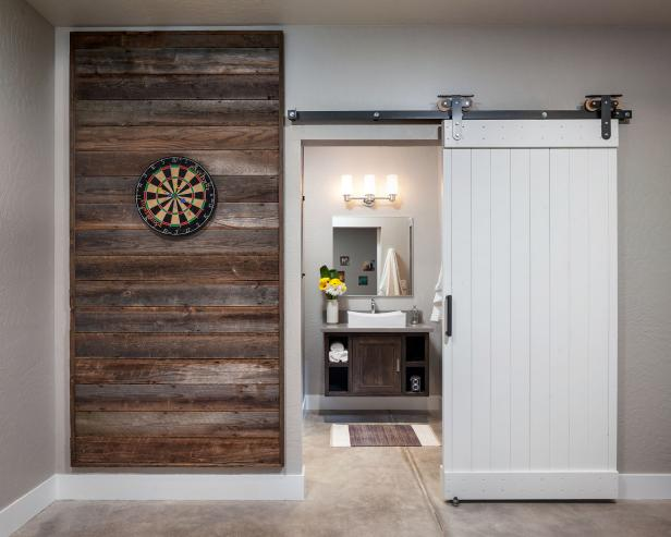 Reclaimed Wood Wall Panel Amp Sliding Barn Door In Game Room Hgtv