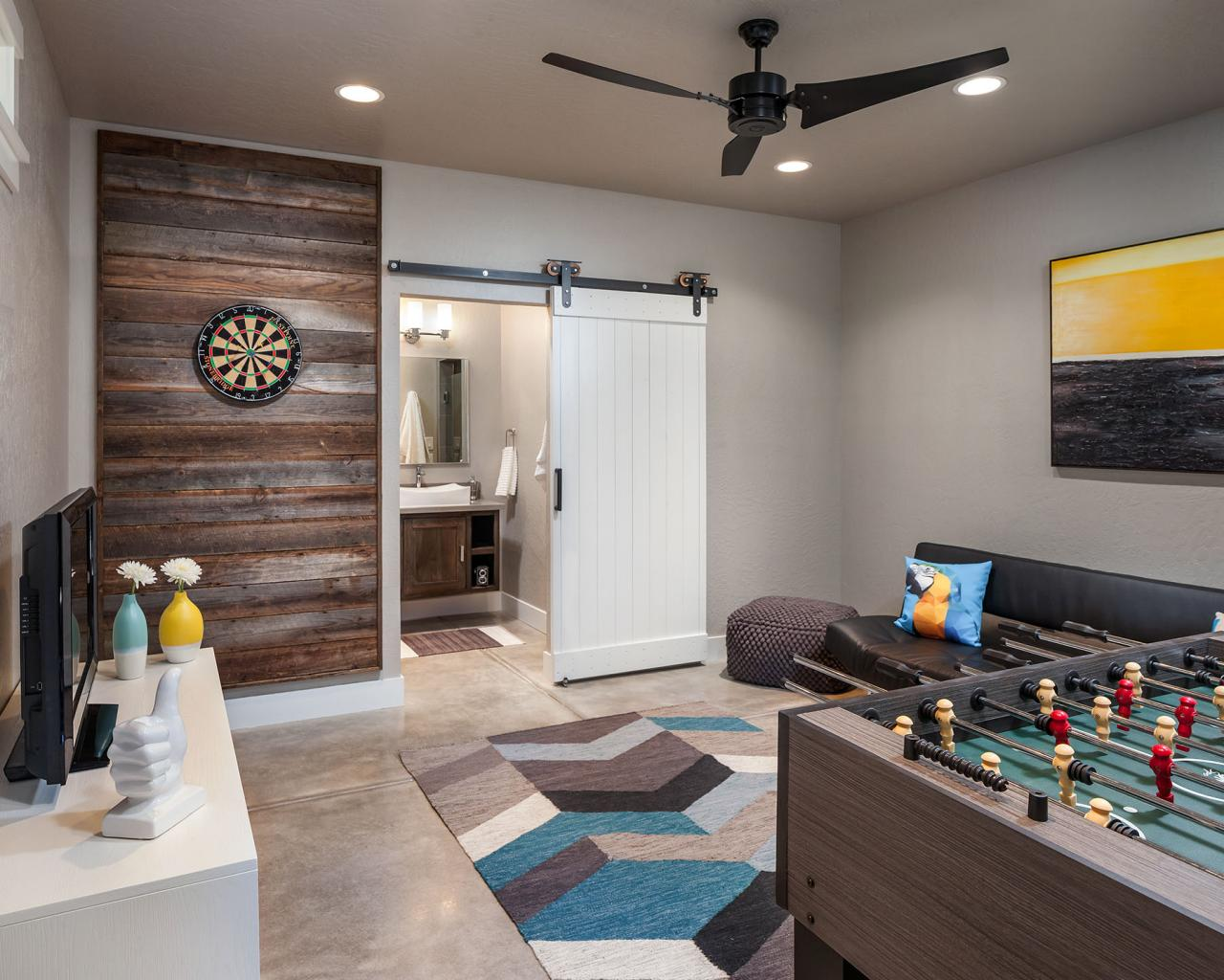 Transitional multipurpose game room with concrete floor for Living room ideas quiz