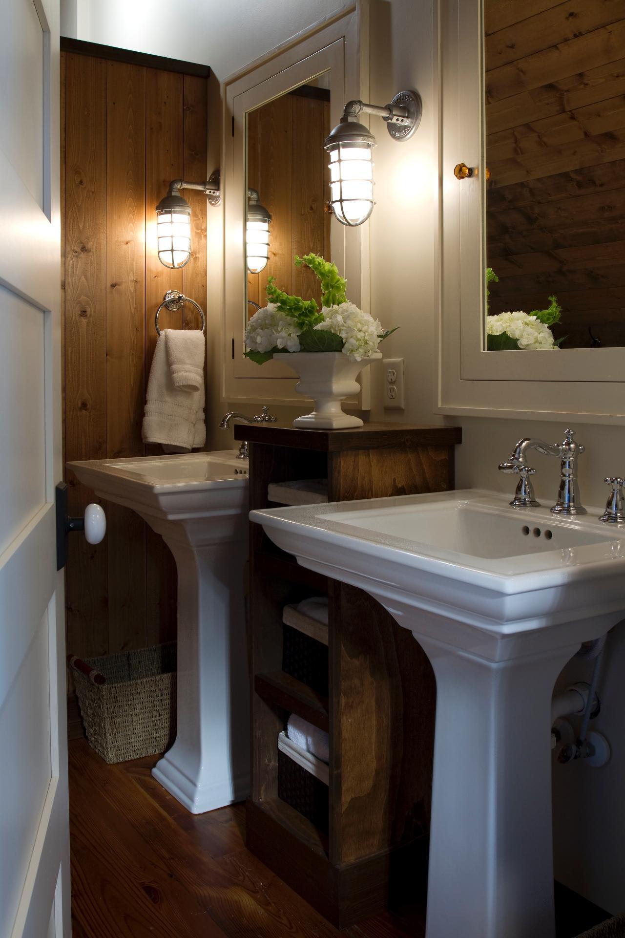 Pedestal Sink In Bathroom : pedestal sinks in traditional bathroom traditional meets country in ...