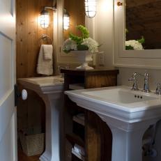 Pedestal Sinks In Traditional Bathroom