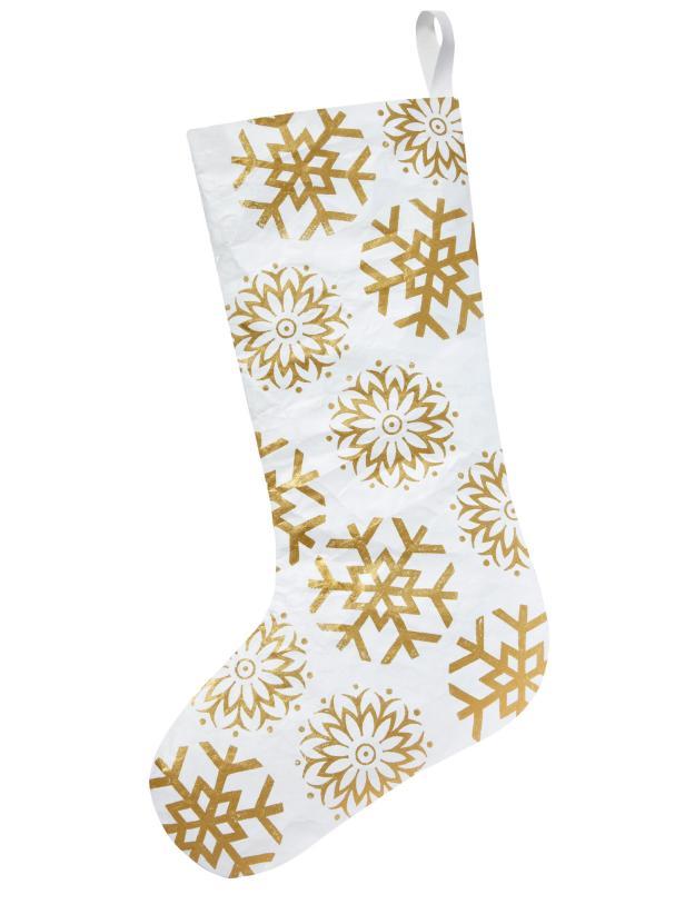 White and Gold Snowflake Stocking