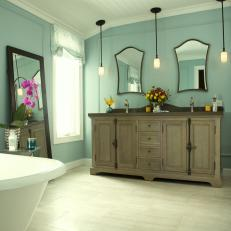 Light Blue Bathroom Exudes Cottage Charm