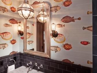 Sophisticated Powder Room With Fish Wallpaper