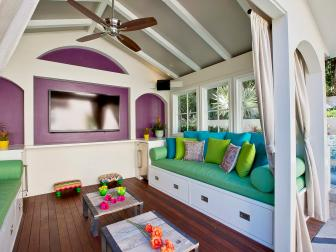 Outdoor Entertainment Pavilion With Colorful Storage Benches