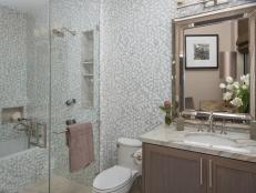 Gorgeous Gray Penny Tile in Transitional Bathroom