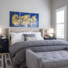 Transitional Gray Bedroom With Blue Abstract Art