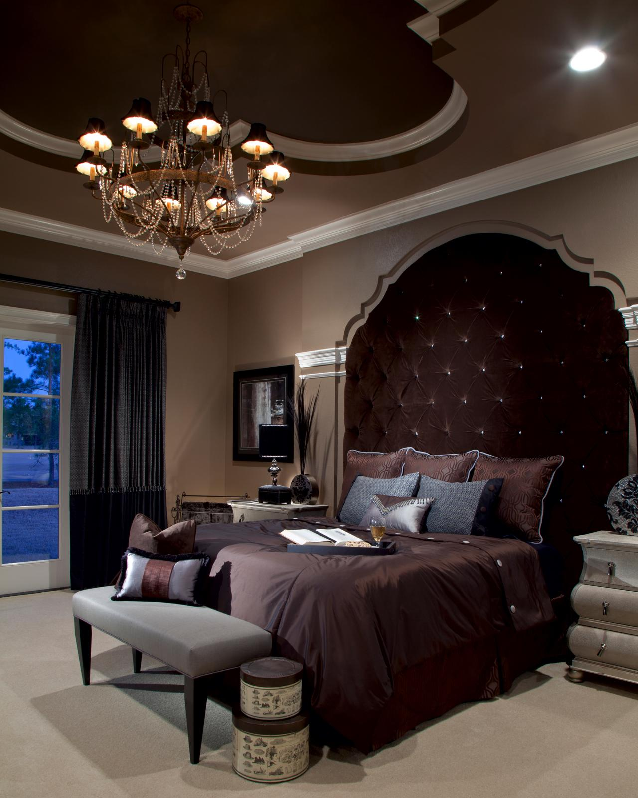 Brown bedroom photos hgtv Elegant master bedroom bedding