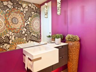 Contemporary Floating Vanity in Magenta Bathroom