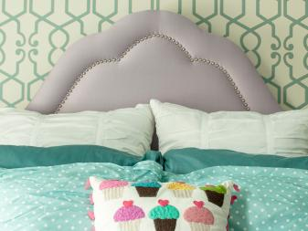 Stylish Girl's Bedroom With Lavender Headboard