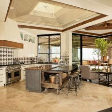 Open Plan Kitchen in Neutral Tones Invokes Comfort and Style