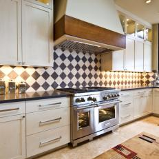 Harlequin Pattern Backsplash Bedazzles Kitchen