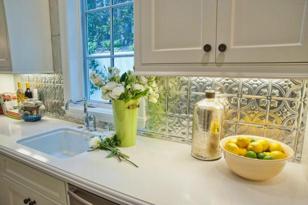 Traditional Kitchen Features Budget Friendly Tin Backsplash