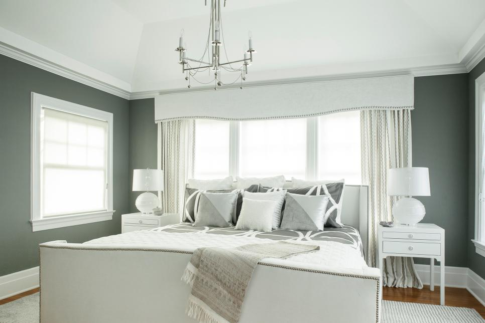 Chic Gray And White Master Bedroom With Custom Details Karen Wolf Hgtv