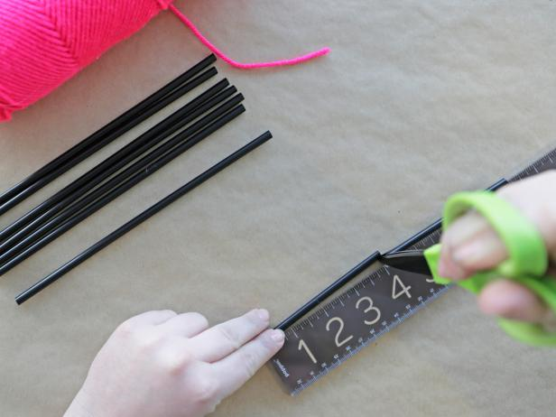 Step 1: Using the ruler, cut each straw into two four-inch lengths. You'll need 12 sections for each himmeli ornament.