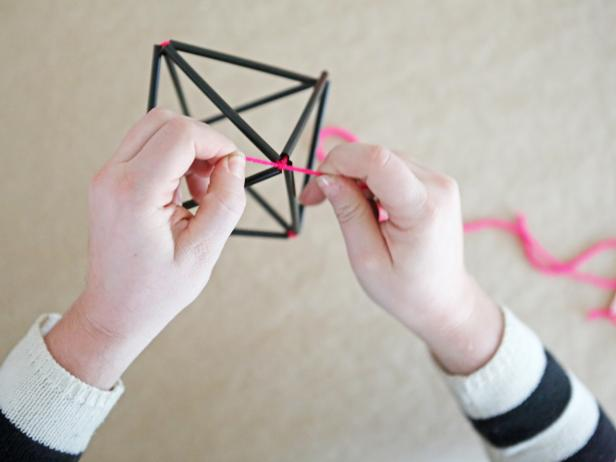 Step 7: Form completed diamond shape. Hang a bunch of himmeli together for a modern, graphic holiday centerpiece.
