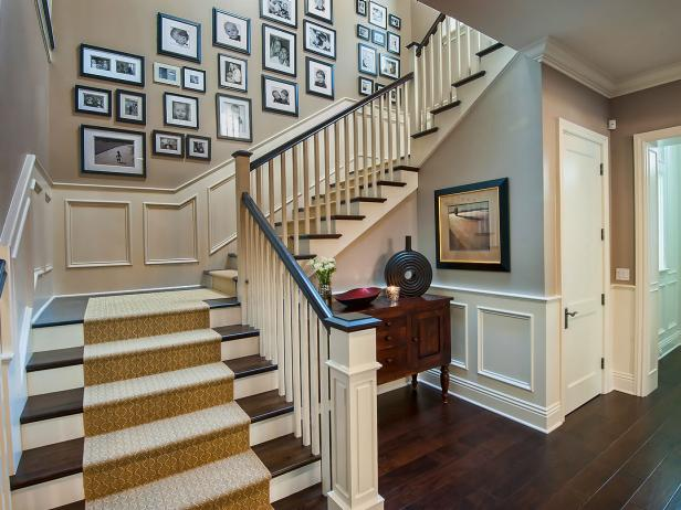 Foyer decorating and design idea pictures hgtv for Foyer staircase decorating ideas