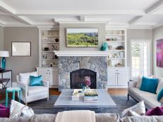 Contemporary Gray Family Room With Stone Fireplace
