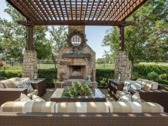 Jonas Brothers' Texas Home: Outdoor Terrace & Fireplace