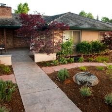 Landscaped Front Yard With Walkway