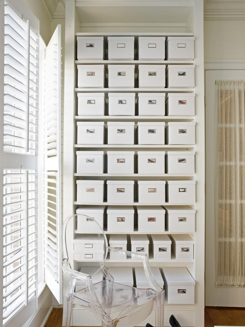 8 clever shoe storage tips hgtv. Black Bedroom Furniture Sets. Home Design Ideas