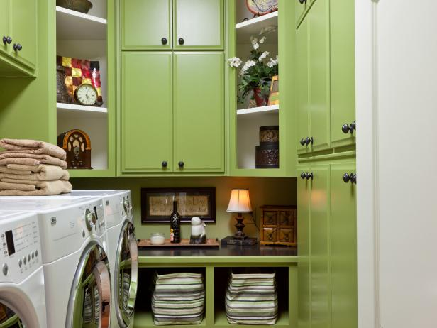 Green Laundry Room With Floor-to-Ceiling Storage