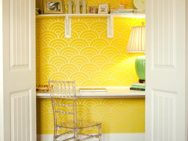 Yellow Home Office Tucked in Closet