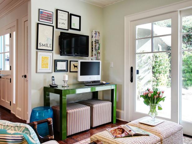 Home Office With Green Desk and Gallery Wall