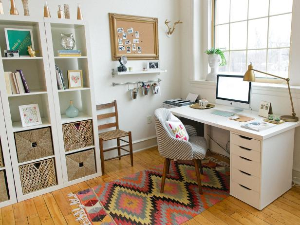 neat home office with global touches