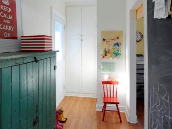 Mudroom With Antique Teal Pine Armoire