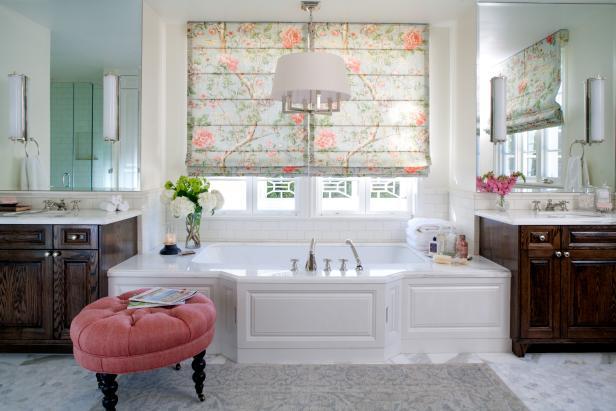 Romantic Master Bathroom With Luxurious Whirlpool Bathtub