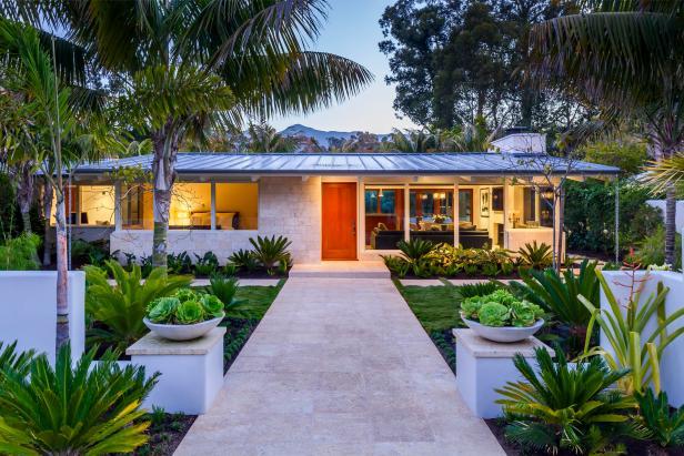 Tropical Beach Villa With Neutral Stone Walkway