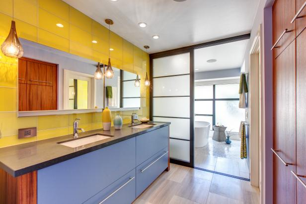 Daring and Bright Bathroom With Asian and Midcentury Touches