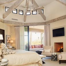 Transitional Master Bedroom Features Clerestory Windows & Soft Ivory Palette