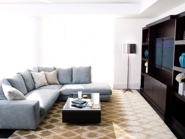 Modern Living Room With Gray Sectional Sofa