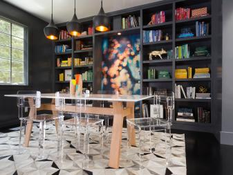 Sleek Modern Dining Room With Multicolored Book Display