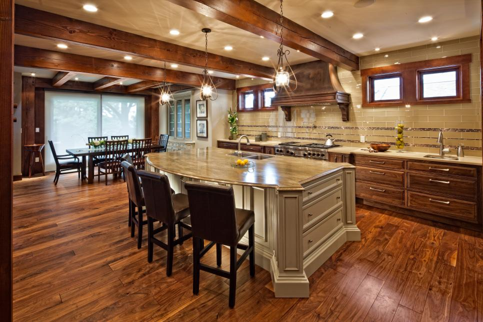 Mission Kitchen With Wood Vaulted Ceiling And Black Island