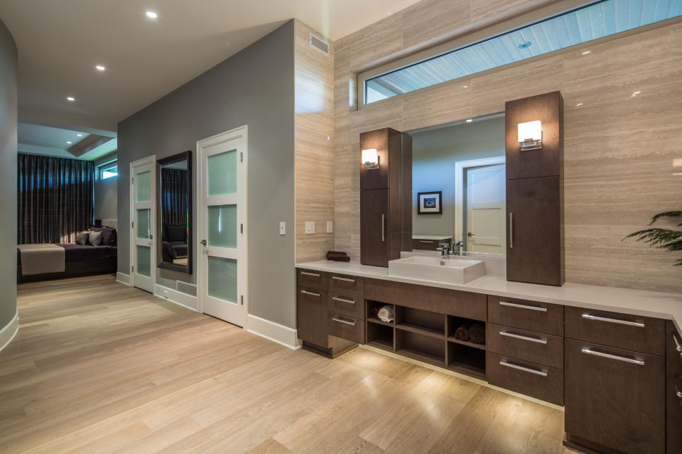 Sleek contemporary master bathroom teresa ryback hgtv for Master bedroom and bath plans