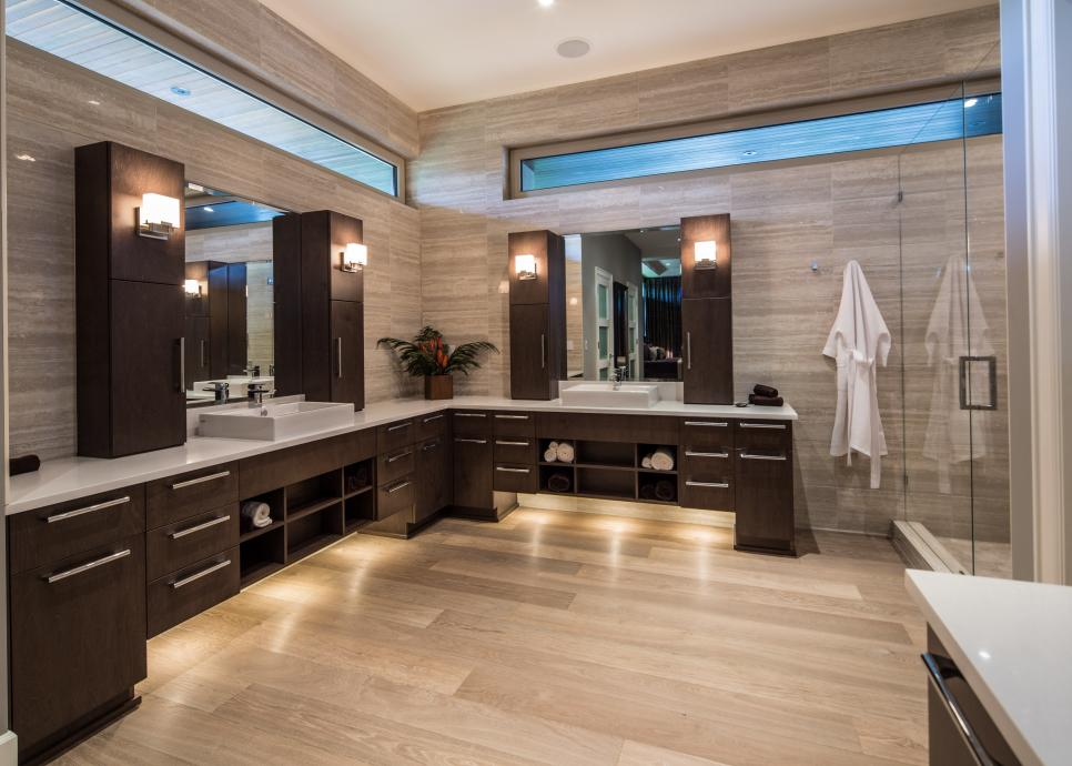 Sleek contemporary master bathroom teresa ryback hgtv for L shaped master bathroom layout