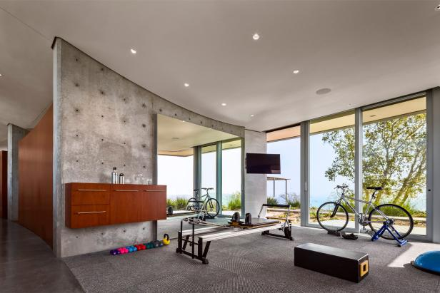 Modern Home Gym Features Natural Light & Floating Storage