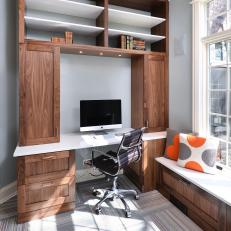 Contemporary Home Office With Walnut Built-Ins