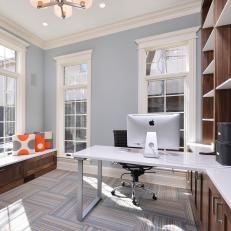 Chic Contemporary Home Office With Walnut Storage Cabinets