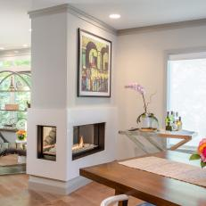 Modern Double-Sided Fireplace