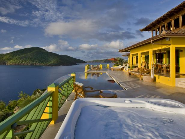 Hot Tub View: Balinese-Inspired Villa in Tortola, British Virgin Islands