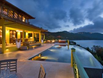 Pool at Night: Balinese-Inspired Villa in Tortola, British Virgin Islands