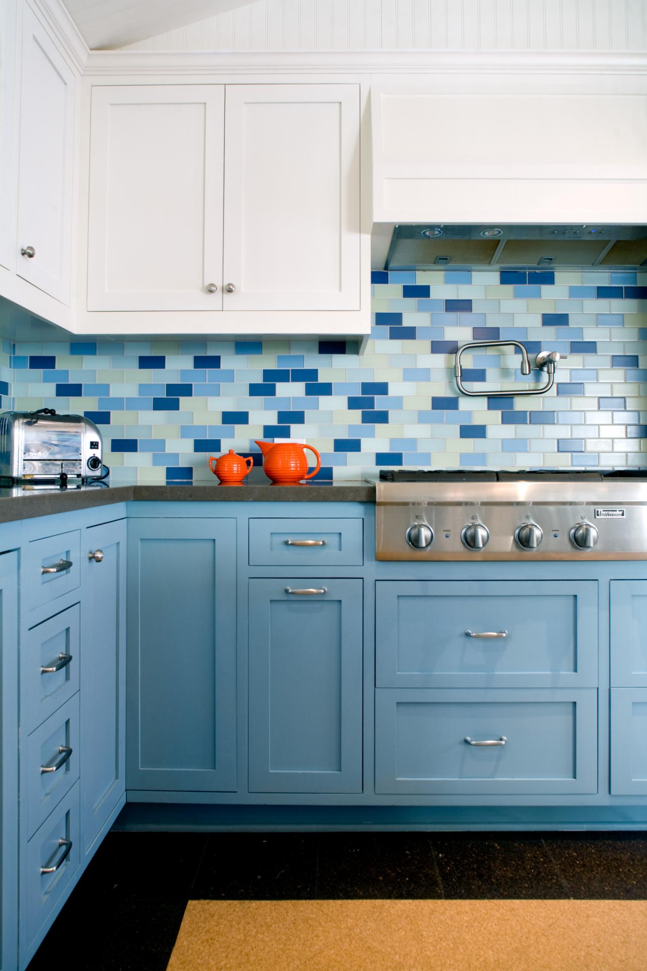 Blue tile backsplash kitchen - Subway Tile Backsplashes