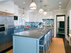 Bright, Contemporary Blue Kitchen With Cork Floor