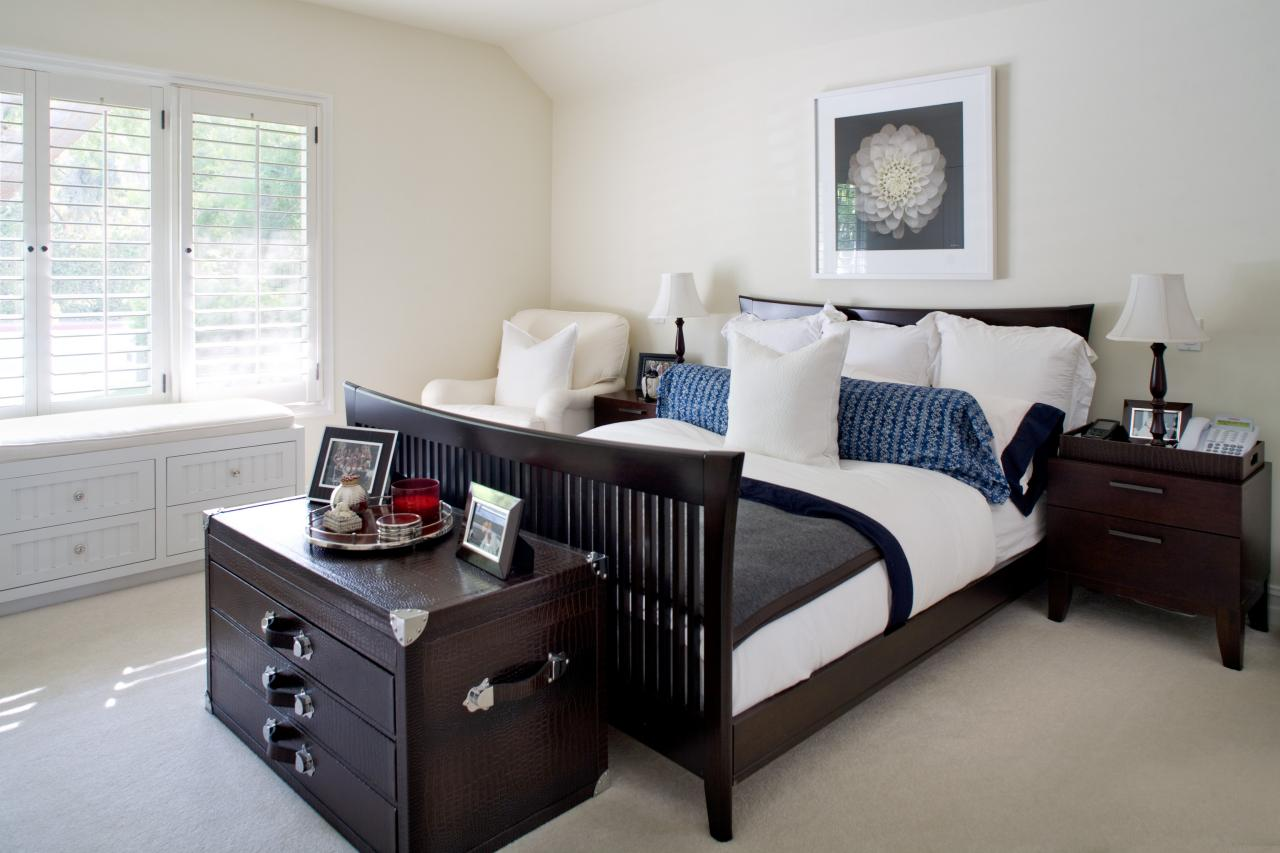transitional bedroom with dark brown furniture this bedroom provides a